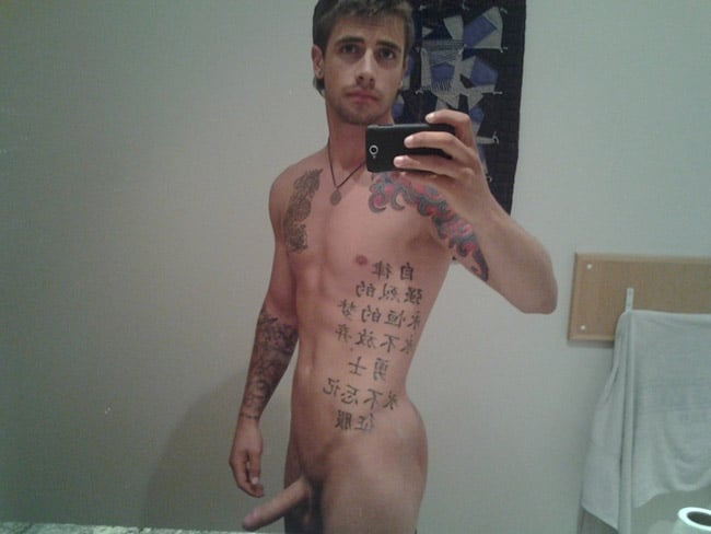 Sexy Tattooed Fella Shows A Nice Penis - Nude Men Selfies