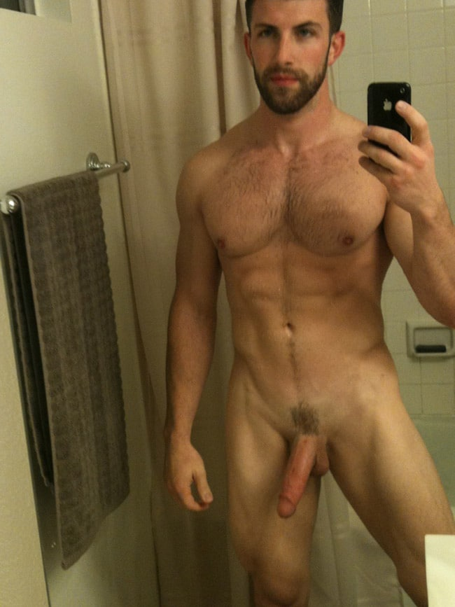 Bearded Dude Showing A Penis Haircut - Nude Men Selfies-3555